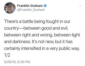Franklin Graham tweet from 9/26/18
